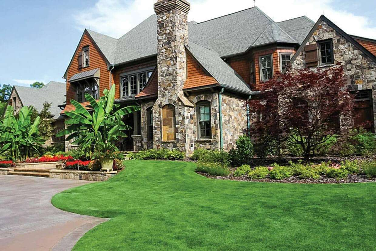 large house with yard of quality sod from NG Turf