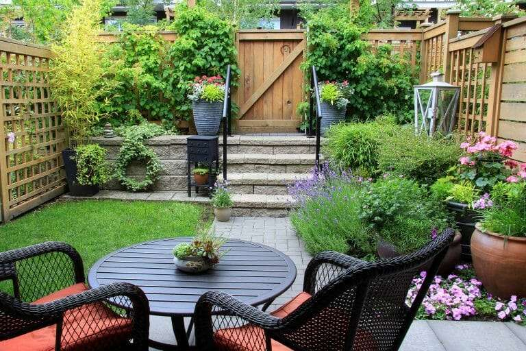 backyard living space with sod landscaping
