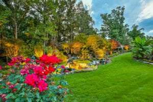 beautifully landscaped lawn