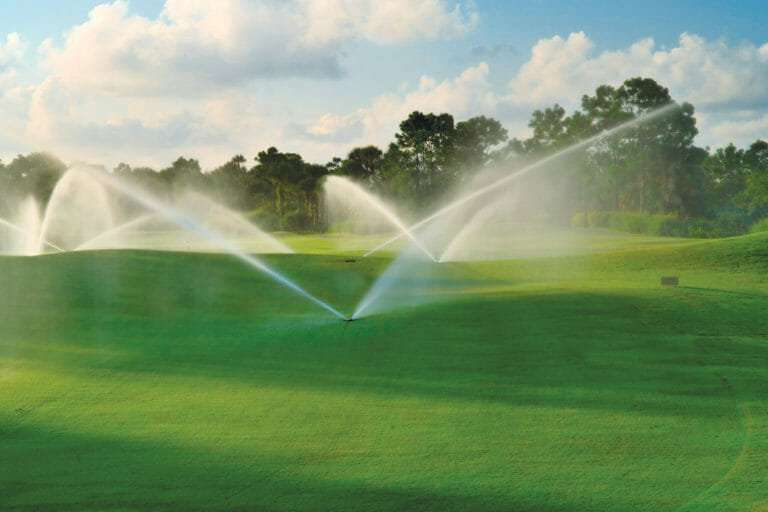 sprinklers watering a golf course, NG Turf sod supplier near me for golf courses