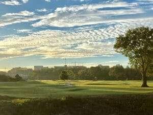Atlanta, GA's historic Bobby Jones Golf Course with clouds in sky