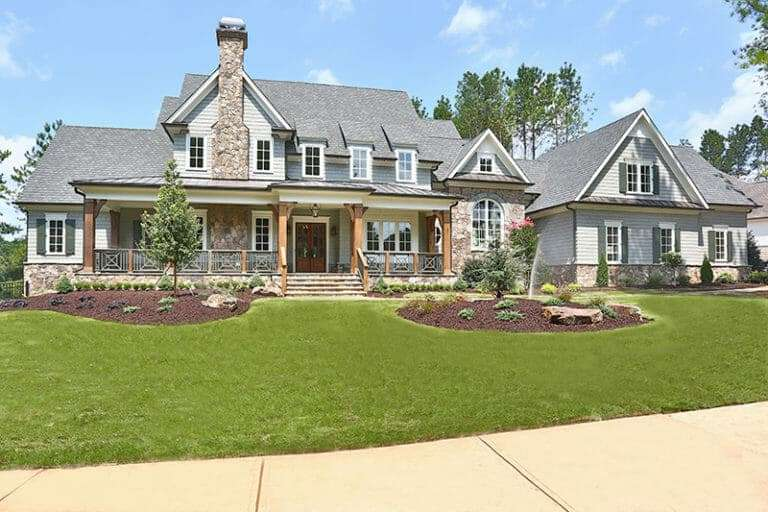 large Alpharetta home with newly installed lawn of zeon zoysia sod