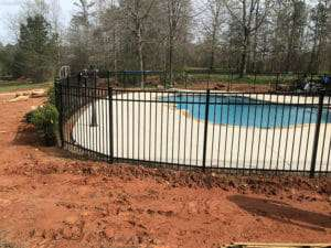 pool side landscaping project, Moreland, Georgia