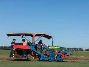 tractors on NG Turf sod farm, North Georgia
