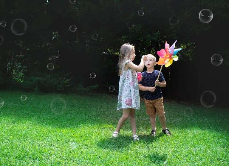 kids playing in lawn, Social Distancing