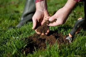 man with soil in hands, soil testing concept