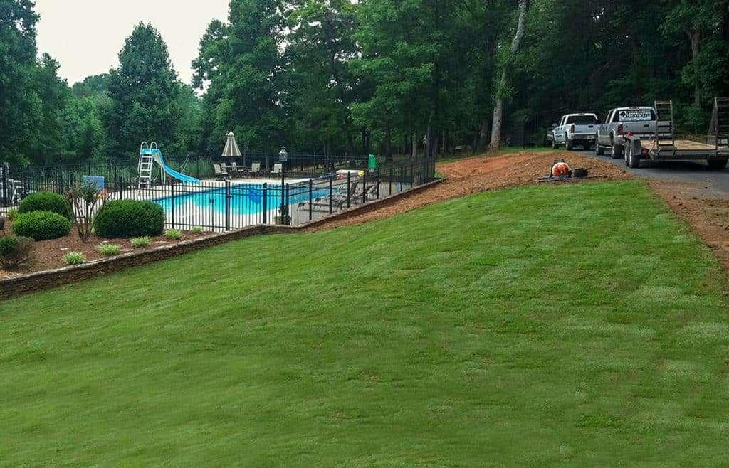 pool with side yard of durable Tifway 419 Bermuda sod