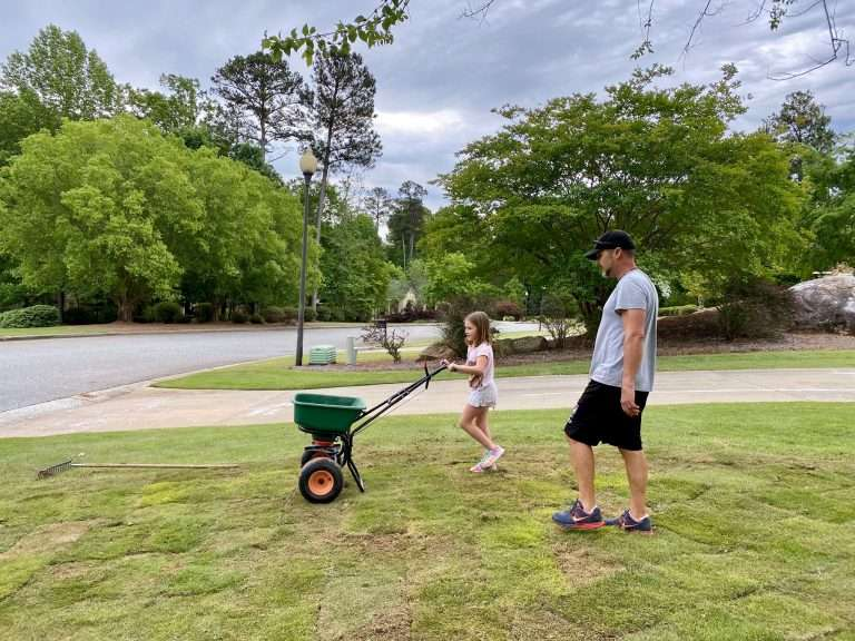 father and daughter caring for new sod