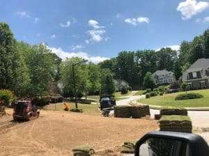 Mableton front lawn makeover with zeon zoysia
