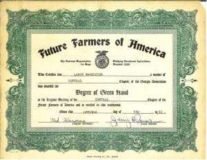 Future Farmers of America Certificated for Aaron McWhorter, NG Turf sod farm founder and COE