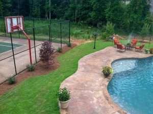 El Toro zoysia grass around pool and basketball court
