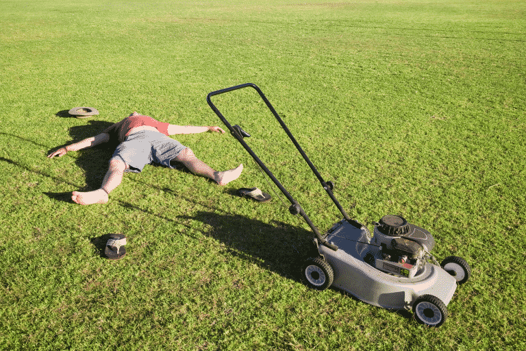 man on lawn with lawn mover