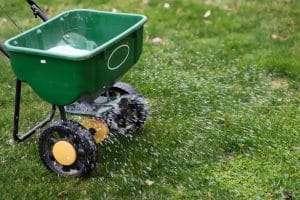 fertilizer spreader spreading chemicals onto green lawn, lawn threat: improper fertilization
