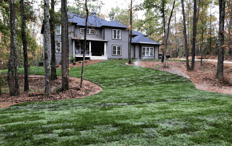 house with yard of year round green Fescue sod