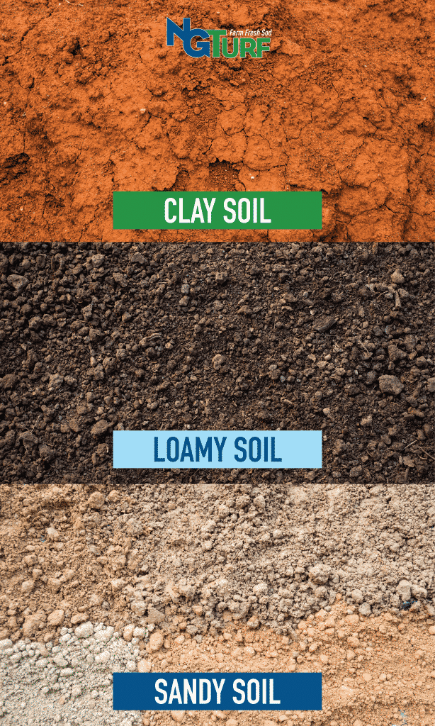 3 types of soil: red clay soil, dark brown loamy soil, light colored sandy soil