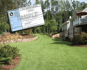 blue tag certified sod certificate that goes with a certified green sodded lawn