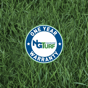 NG Turf's one year warranty seal on healthy sod, representing one of the factors to the cost of sod