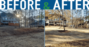 before and after picture of dormant sod installation in newnan, georgia