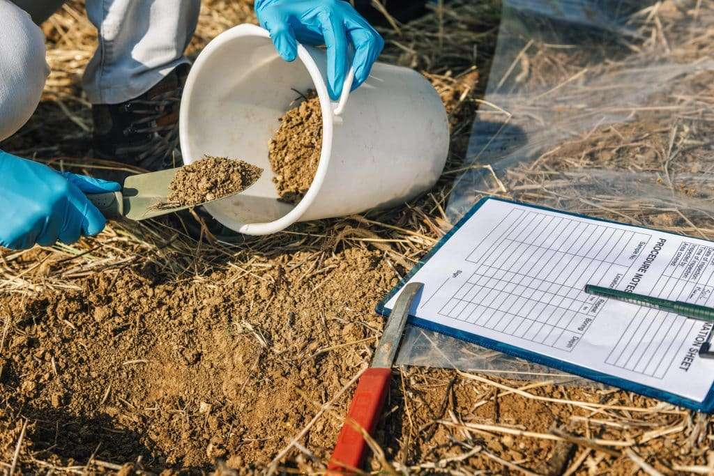 Soil Testing. Lawn care worker taking soil sample for fertility analysis. Hands in gloves close up. soil testing for lawn health