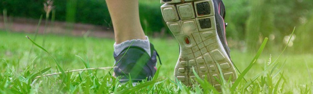 kid walking on grass, keep off wet grass concept